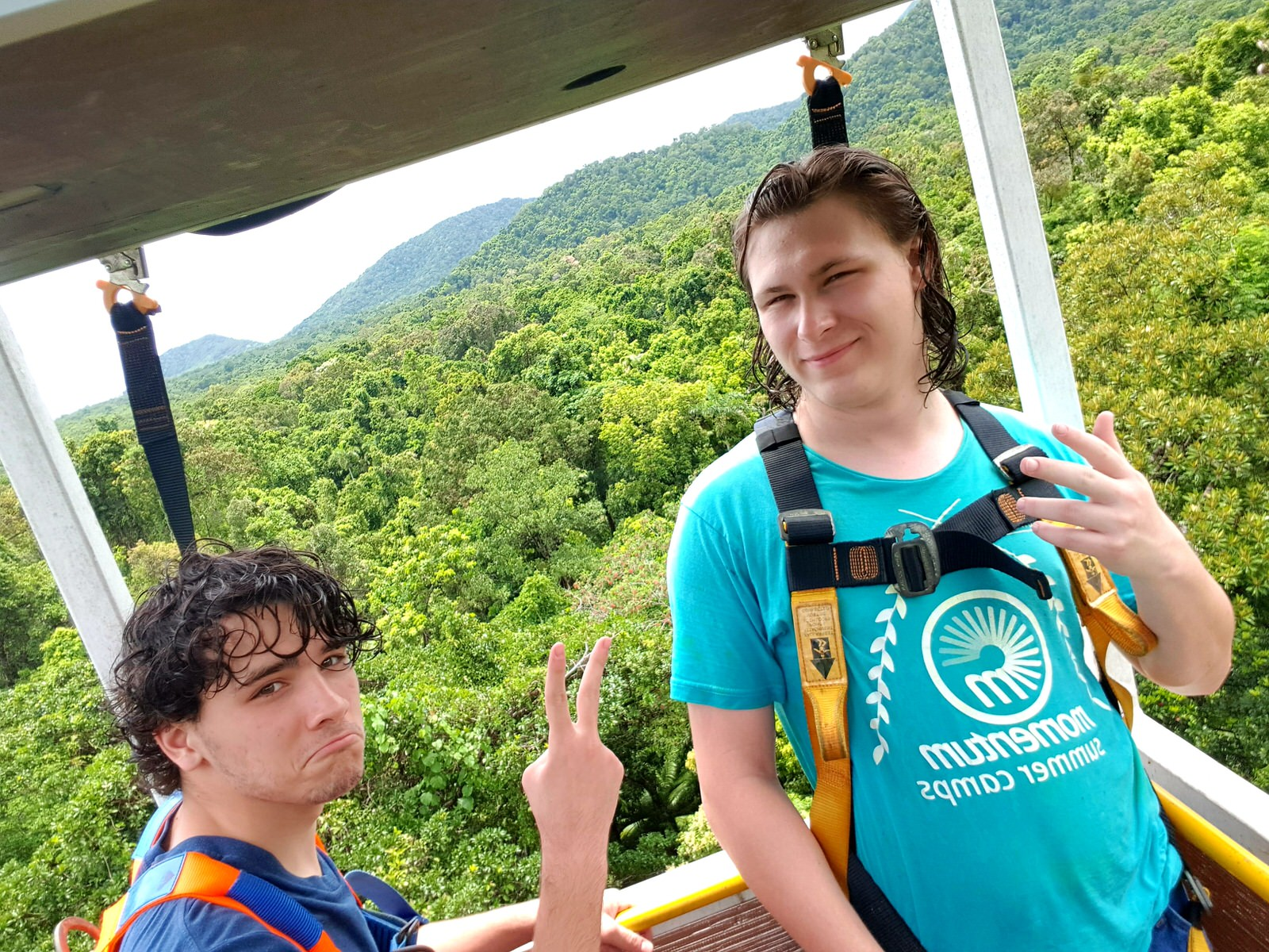Students in rainforest canopy crane research station